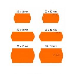 Rollos de etiquetas Flúor Naranja Adhesivo Permanente (40 rollos)