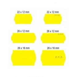 Rollos de etiquetas Flúor Amarillas (40 rollos)