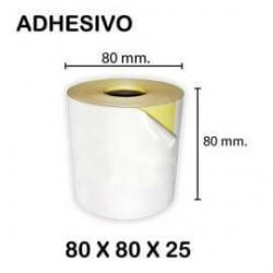 Caja de 10 Rollos de Papel Térmico 80×80 Adhesivo continuo