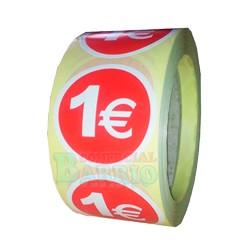 """7 Rollos de 500 etiquetas preimpresas """"1 €"""""""