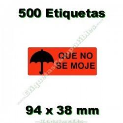 """5 Rollos de 500 etiquetas preimpresas """"QUE NO SE MOJE"""""""